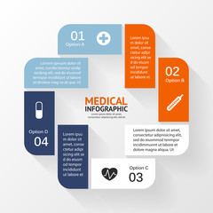 Medical healthcare circle plus sign infographic.