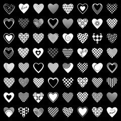 Heart icons set. 64 design elements.