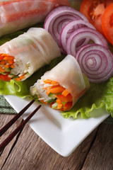 vegetable spring rolls with sauce ertical top view