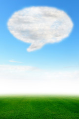 Speech bubble cloud design on blue sky and green field