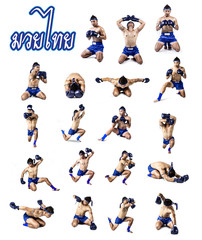 Set of thai boxer with thai boxing action, isolated on white bac