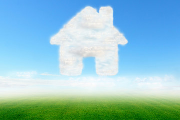 home icon design with clouds sky and green field