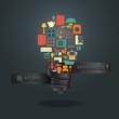 Home appliances icons with creative light bulb idea