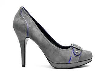 Grey and Blue High Heels on a White Background