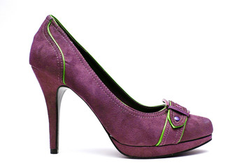 Purple and Green High Heels on a White Background