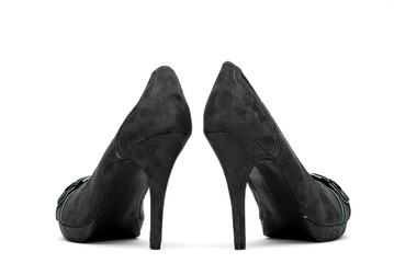 Black High Heels on a White Background