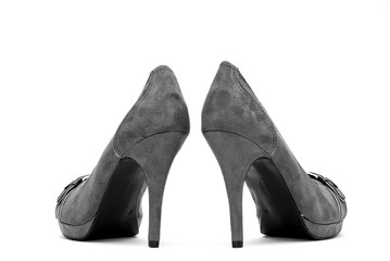 Grey High Heels on a White Background