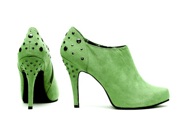 Womens Studded High Heels on White Background
