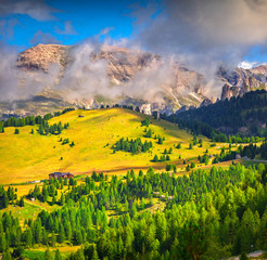 Foggy summer morning in Italy Alps, Dolomites, Europe.