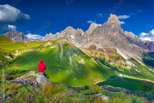 Climber admiring of the landscape of Pale di San Martino - 76294998