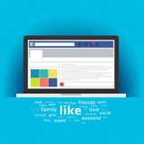 Laptop with social network internet page. Vector Illustration