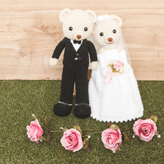 Romantic toy Bear in wedding secne