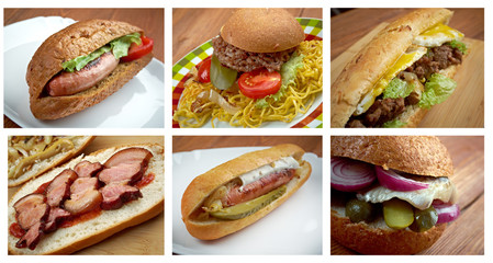 set of different   American   Sandwich