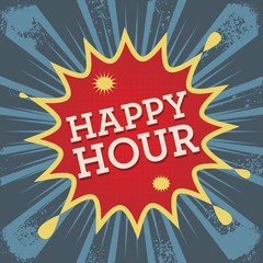 Comic explosion with text Happy Hour, vector
