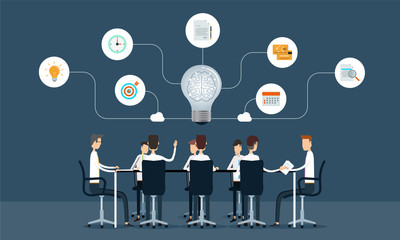 business teamwork meeting and brainstorm concept