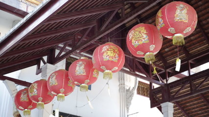 Chinese Red Lantern in temple thailand
