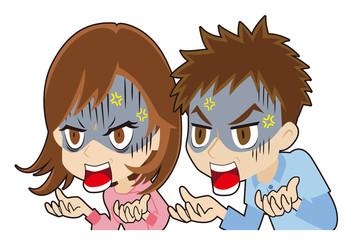怒鳴りつける若いカップル
