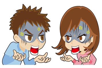口喧嘩する若いカップル