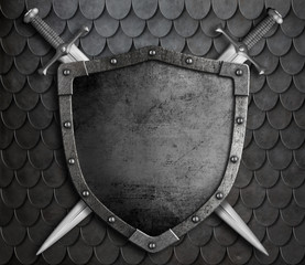 medieval shield with two crossed swords over scales armour