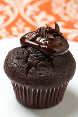 Chocolate muffin with melted chocolate