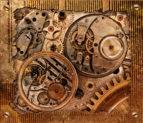 Metal abstract background with mechanism.