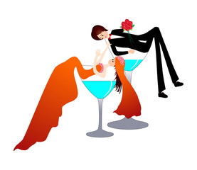 Funny bride and groom in a champagne glass