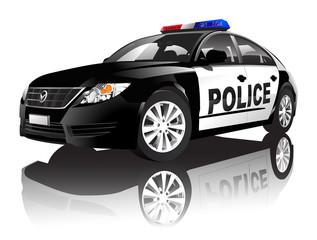 Police Car Transportation Security Elegance Concept