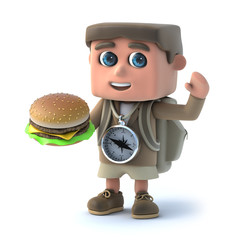 3d Hiker kid has a burger