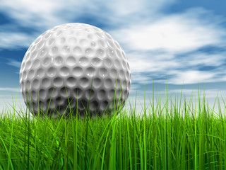 White golf ball in grass and sky