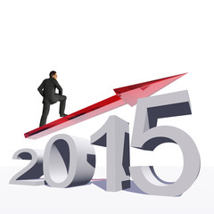 Conceptual 2015 year with an arrow and a man