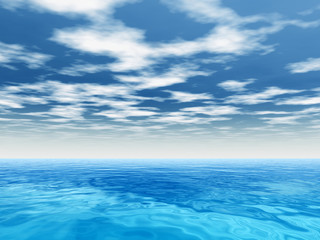 Conceptual blue sea or ocean water with sky