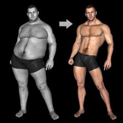 Human man slim and fat concept