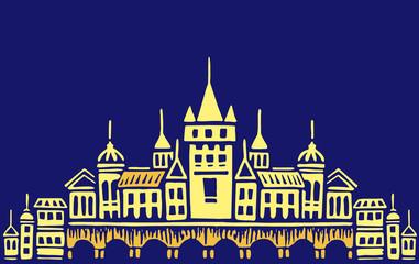 Night town illustration