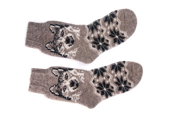 woolen socks on a white background