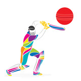 abstract design cricket player banner design vector