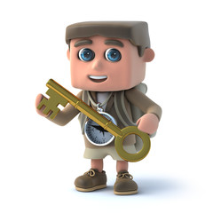 3d Hiker kid has the gold key