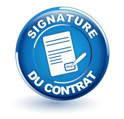 signature du contrat sur bouton bleu