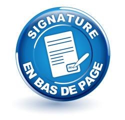 signature en bas de page sur bouton bleu