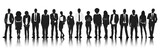 Silhouettes Group People Row Team Teamwork Concept