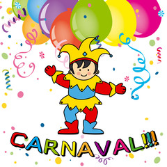 Carnival card. Arlequin, balloons and confetti
