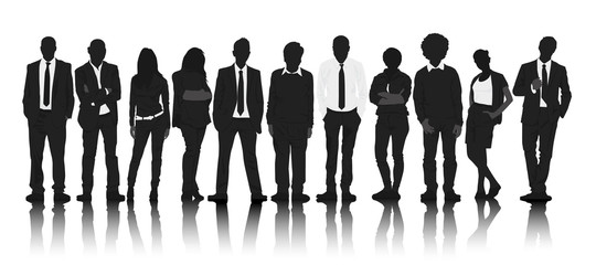 Silhouettes Business People Row Waiting Teamwork Concept