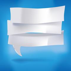 Drei Zettel als Sprechblasen