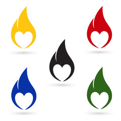 Icons of fire with heart silhouette
