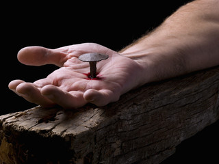 Hand of Christ, nailed to the cross