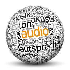 Kugel, Audio, Tags, Word Cloud, Text Cloud, Wortwolke, Keyword