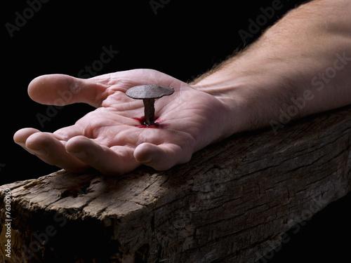 Zdjęcia na płótnie, fototapety, obrazy : Hand of Christ, nailed to the cross