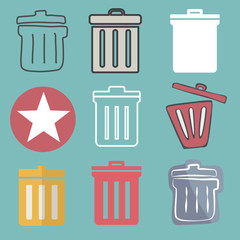 Unwanted Data Computer Clear Trash Waste Icon Vector Concept