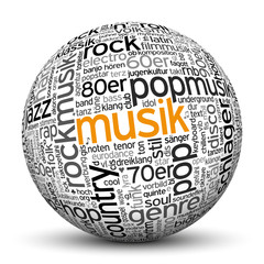 Kugel, Musik, Tags, Word Cloud, Text Cloud, 3D, Keyword, Music
