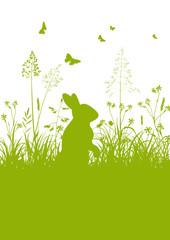 Osterkarte, Osterhase, Ostern, Hase, Häschen, Frühling, grün, 2D