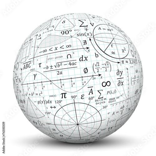Leinwanddruck Bild Kugel, Mathematik, Icon, Symbol, Math, Sphere, 3D, Formeln, Uni